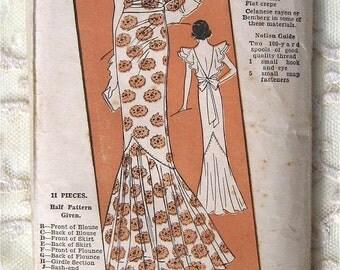 Vintage 30s Evening Dress w Plunge Back, Flutter Sleeves. Excella Sewing Pattern 4550.  Size 16
