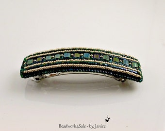 Beaded Hair Barrette ~ Metallic Green ~ Handmade Hair Clip Accessory