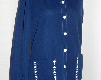 Designer shirt//Debbi Brooks western shirt//metal studded polyester button down shirt// 1970s designer Western style metal studs