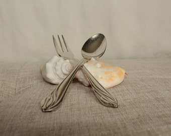 Silver plate fork & spoon for little hands