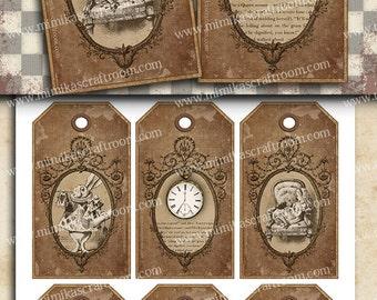 ALICE in Wonderland digital tags Collage Sheet, digital gift tags, alice digital label tags, wonderland INSTANT DOWNLOAD