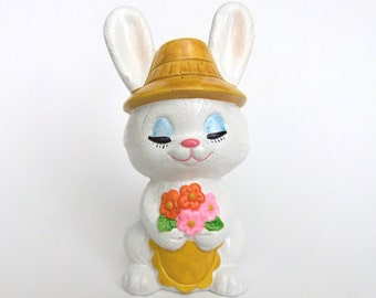 Kitsch Rabbit Figurine, Kitschy Bunny Easter Decor, Easter Gift, Anthropomorphic White Rabbit