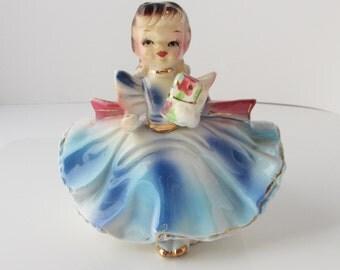 Numbered Japan Girl Planter Figurine Vintage 1960s