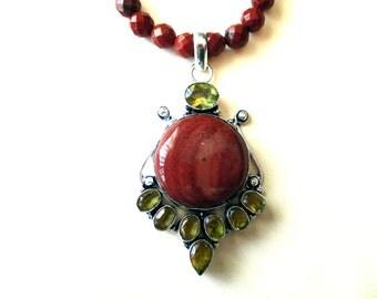 Red Jasper Necklace, Sterling SIlver Citrine and Red Jasper Pendant and Red Jasper Bead Necklace