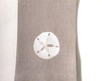 Linen Tea Towel, Guest or Hand Towel.  Sand Dollar embroidered on linen.  Beach Decor.  Nautical Decor.  Hostess Gift.  Fine Linens.