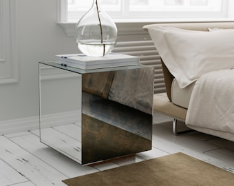 Captivating Mirrored Side Table With Antiqued Mirror.