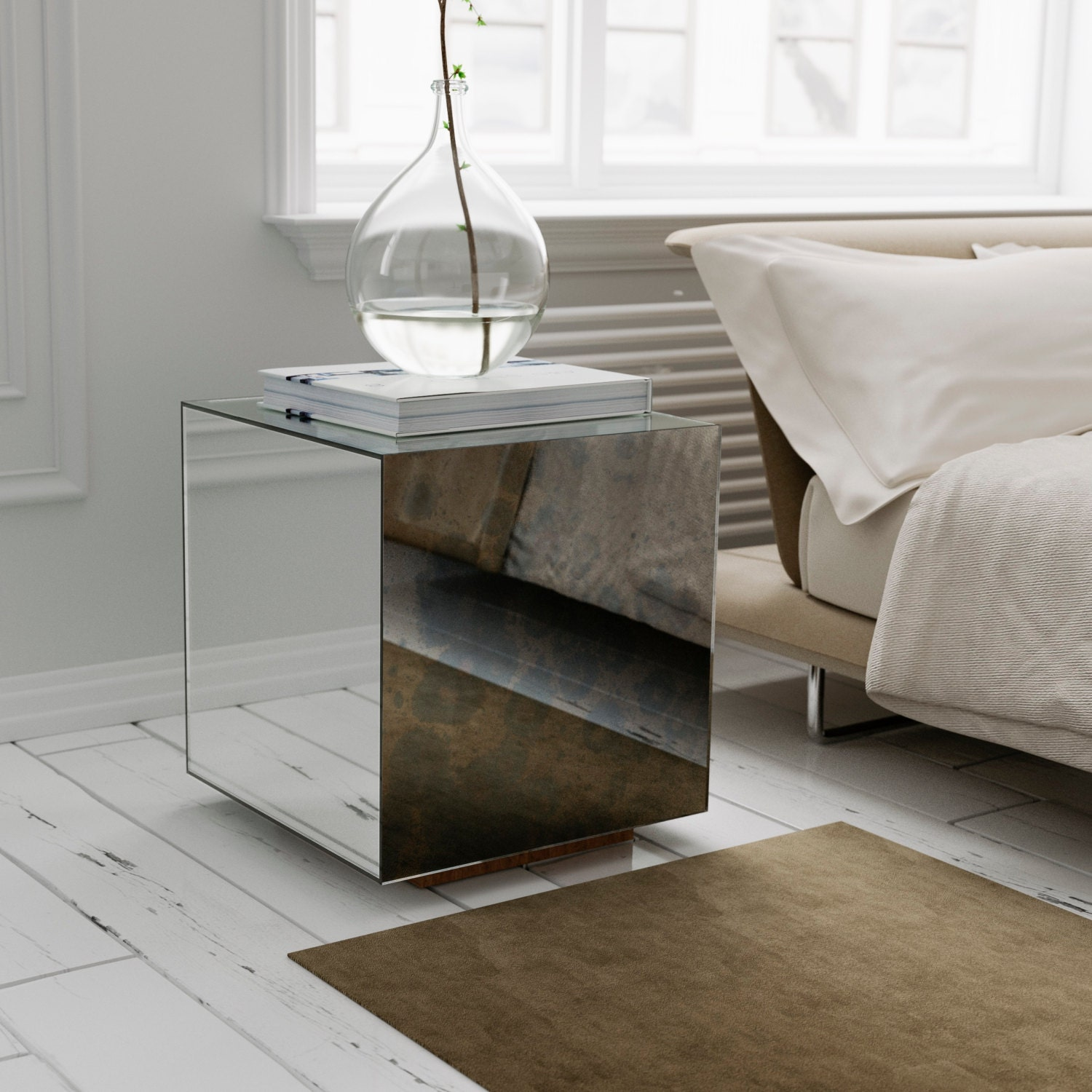 Mirrored Side Table With Antiqued Mirror