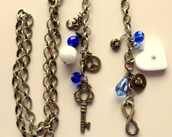 """Very Long Brass Chain Necklace (44"""") With Assorted Charms  Infinity Sign, Vintage Heart, Key, Om, Peace Sign, etc."""