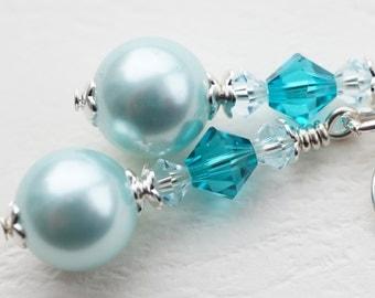 Mint green earrings, pearl earrings, shell pearl and crystal earrings, pearl with Swarovski blue zircon earrings, green shell earrings