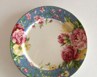 Waverly Floral Plate - Masterpiece Patten in Rose Chintz Design - Waverly Garden Room - 9 Available! -Country Cottage Farmhouse Decor