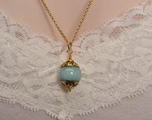 Blue Jade Necklace, Gold Necklace, Real Gemstone, Nepal Bead, Boho, Powder Blue, Light Blue Necklace Bauble Necklace Ethnic Cinderella N1326