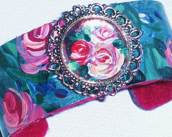 Flower Cuff Rose Bracelet Hand Painted Romantic Boho Chic Jewelry