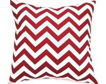 Red Chevron Pillow, 20x20 Pillow Cover, Summer Decor, Designer Pillow, Decorative Pillows, Patriotic Pillow, Zig Zag Lipstick White