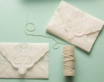 Vintage Lace Envelopes: Set of 10, Romantic Paper Lace Doily Wedding Invitation Envelopes,