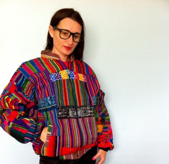 GUATEMALAN Patchwork Neon Mexican Aztec Bomber Jacket - Polyvore