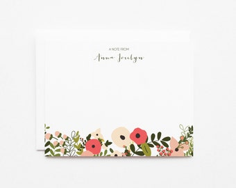 Personalized Flat Card Set of 12   Custom Floral Stationery Notecards : Blooming Wreath Collection Personalized Stationery Set