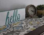 Hello rustic wooden decor sign