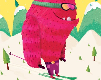 Ski Idaho - Girl Monster Ski Art Print - Girls Room Decor - Art for Kids