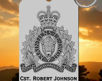 RCMP Keychain, Personalized FREE with Name! Royal Canadian Mounted Police Mountie