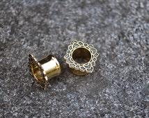 Lotus Brass Ear Tunnels, Ear Plugs, Ear Gauges, Flesh Tunnels, Scretched lobes, Gauged Jewelry, Piercing Jewelry