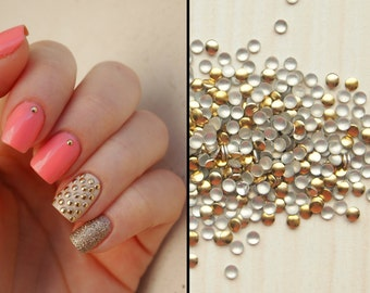 Nail art studs decoration gold color small round approx. 750-850pcs