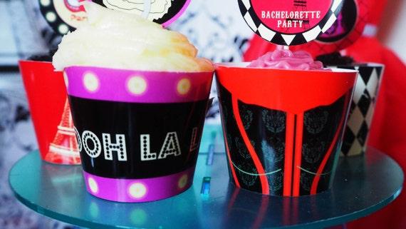 Parisian - Burlesque - Cupcake Wrappers - BACHELORETTE - Hen Party - Birthday - PRINTABLE - PDF'S - Instant Download - Digital
