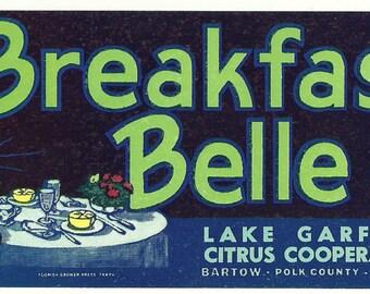 Breakfast Belle Original Vintage Florida Citrus Crate Label Lake Garfield Citrus Co-Op Bartow, Florida