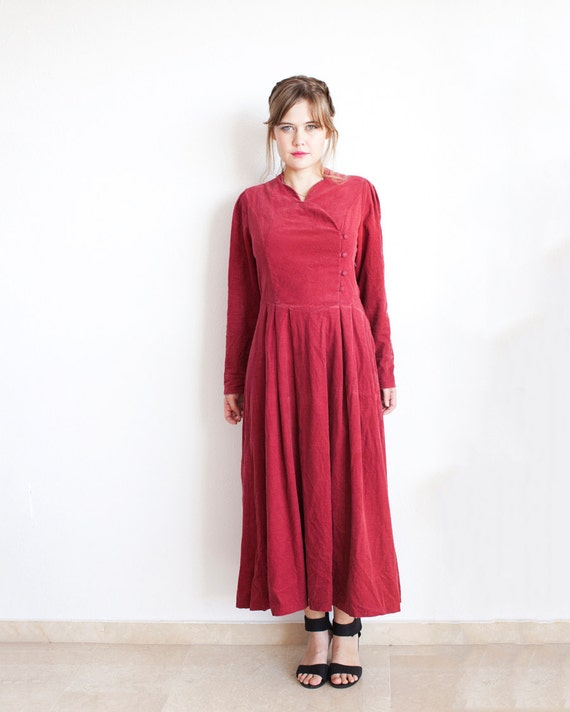 laura ashley robe 80 s velours rouge robe boho maxi. Black Bedroom Furniture Sets. Home Design Ideas