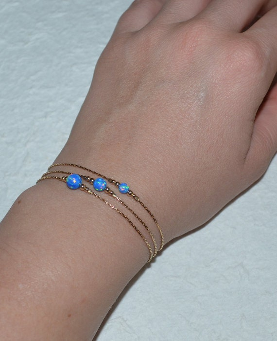 Opal Bracelet, Tiny Dot Bracelet, Small Opal Ball Gold Bracelet, dark blue opal charm, simple dainty circle opal bead bracelet, opal jewelry