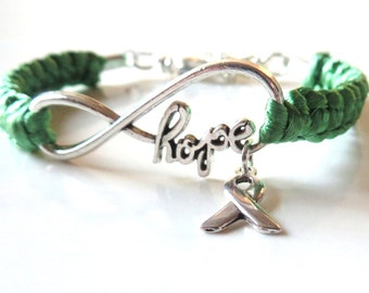 Liver Cancer Celiac Disease HOPE Emerald Green Awareness Ribbon Infinity Charm Bracelet With Optional Hand Stamped Alphabet Initial Charm
