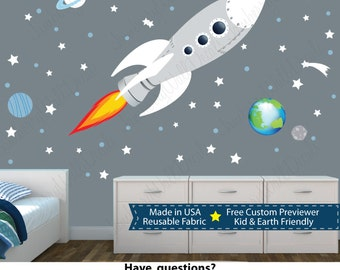 Rocket Wall Stickers, Space Wall Stickers, Kids Rocket Decal (WHITE Sk  Rocket With