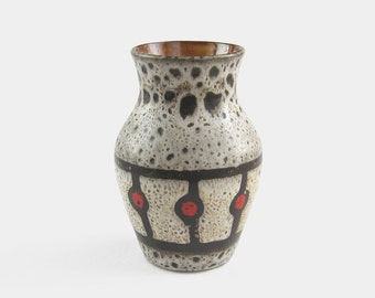 Mid Century West German Vase - red black and white brown fat lava glaze monochrome studio art pottery rustic pot Germany 1960s