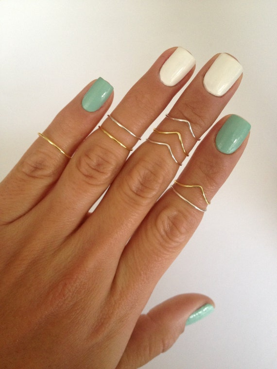 8 Midi Rings in Gold and Silver, Chevron and Simple Band Midi Rings. Mid knuckle stacking rings to wear in many combinations!