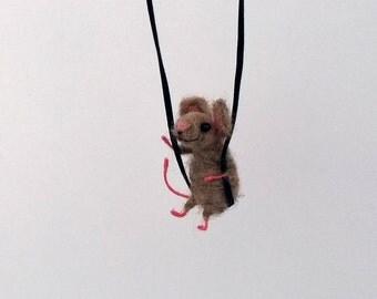 Felt mouse necklace Mouse swing Cute Jewelry Charm animal Needle felt animal Whimsical pendant Sweet Waldorf mouse Felt Accessory miniature