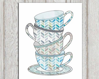 Tea cups print Blue Kitchen decor Teal gray Kitchen Wall art poster Cups stack Wall art printable Home decor 5x7, 8x10 INSTANT DOWNLOAD