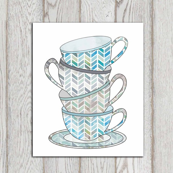 tea cups print blue kitchen decor teal gray kitchen wall art. Black Bedroom Furniture Sets. Home Design Ideas