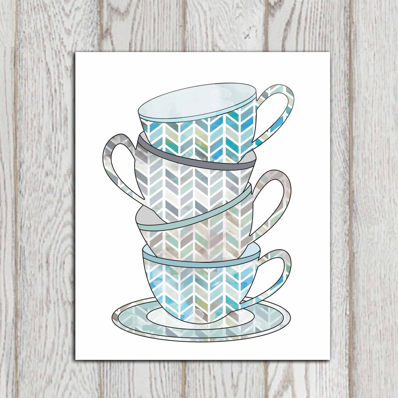 Tea Cups Print Blue Kitchen Decor Teal Gray Kitchen Wall Art