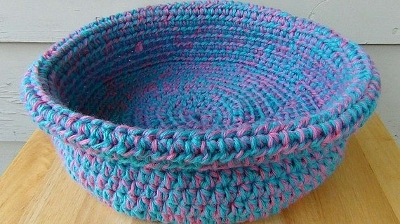 Cotton Candy Blue and Pink Crocheted Basket - 9 inch diameter Rolled Brim Basket