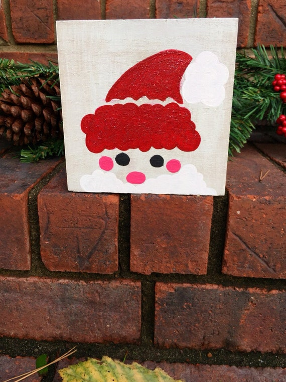 Mini Hand Painted Santa Claus Wooden Sign