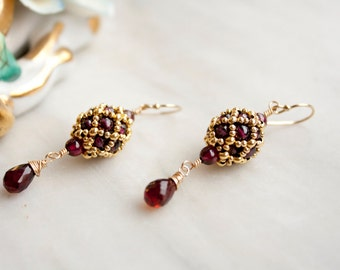 Garnet and Gold filled Drop Earrings, Hand Beaded Artisan jewelry