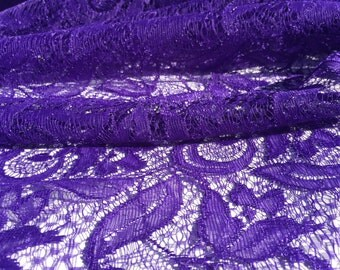Purple Floral Lace Fabric from 1980s