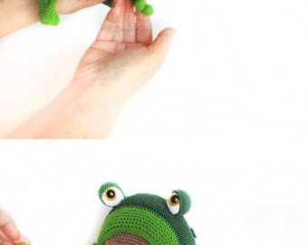 Amigurumi Green Frog : Toy for sleep. Frogling for small babies- knitting pattern ...