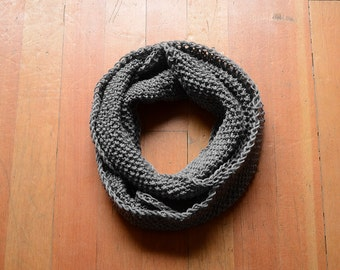 Gifts For Her, Gifts For Him, Gray Infinity Scarf, Gray Knitted Scarf, Hand-Knit Scarf, Gray Circle Scarf, Gray Knit Snood, Gray Knit Cowl