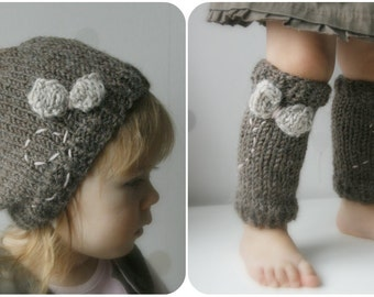 KNITTING  PATTERN leg warmers andhat Fly (baby, toddler, child, adult sizes)