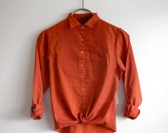 Vintage Rust Orange Blouse With Pintuck Detailed Yoke - Small Medium
