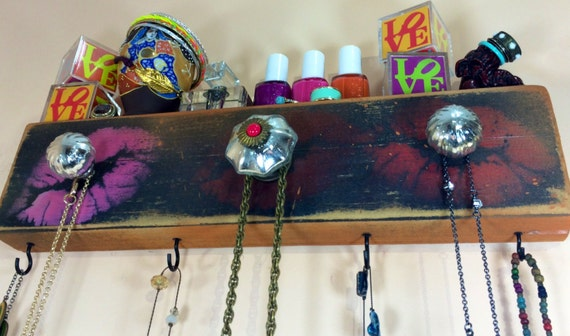 Necklace holder /jewelry wall hanging storage organizer /reclaimed wood decor stenciled kissing lips 4 black hooks 3 knobs