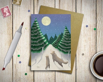Merry Christmas with this card in woodland style with kraft envelope