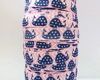 Whale FOE 5/8 -Fold Over Elastic 5/8 inch by the yard...Print FOE, Headbands, Hair Ties and More!