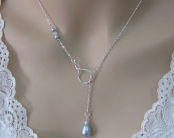 Blue Pearl Lariat Necklace, Sterling Silver, Infinity Necklace, Lariat Y, Wedding Jewelry, Bride, Bridesmaid Necklace, Swarovski Pearls