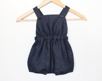 Baby romper overalls - blue denim - unisex
